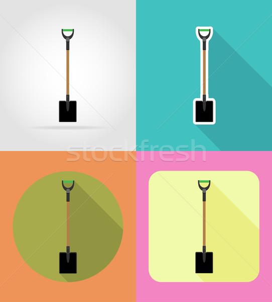 gardening tool shovel flat icons vector illustration Stock photo © konturvid