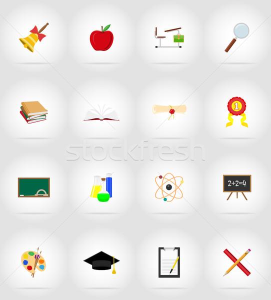 ストックフォト: 学校 · 教育 · アイコン · 孤立した · ペン · デザイン