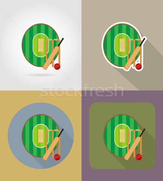 площадка крикет иконки изолированный трава фитнес Сток-фото © konturvid
