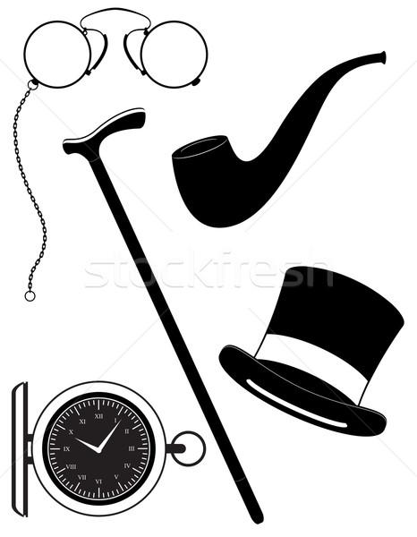 retro mens accessories 19th century black silhouette vector illu Stock photo © konturvid