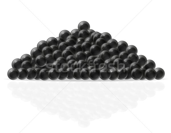 Preto caviar isolado branco fundo cozinha Foto stock © konturvid