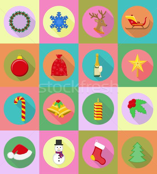 Photo stock: Noël · nouvelle · année · icônes · isolé · résumé · neige