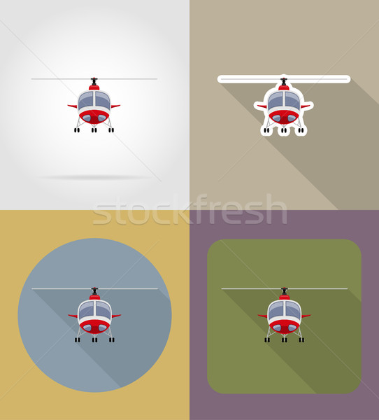 helicopter flat icons vector illustration Stock photo © konturvid