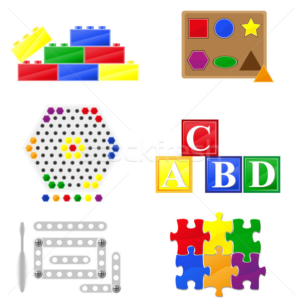 icons educational toys for children Stock photo © konturvid