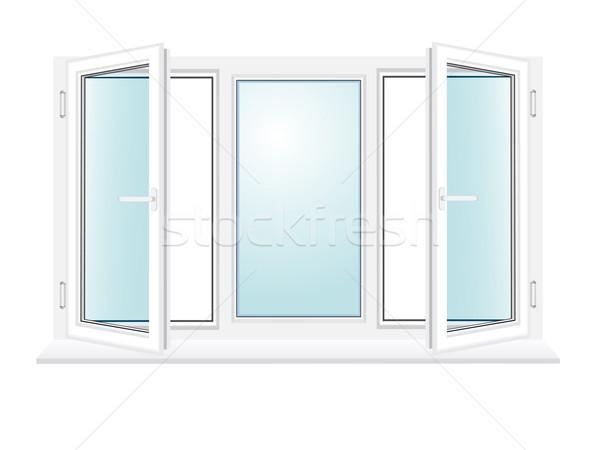 Nyitva műanyag üveg ablak izolált fehér Stock fotó © konturvid