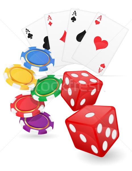 カジノ カード エース チップ サイコロ 孤立した ストックフォト © konturvid
