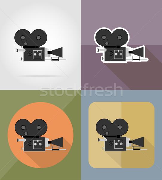 old movie camera flat icons vector illustration Stock photo © konturvid