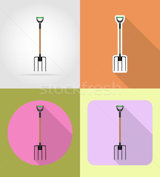 gardening tool pitchfork flat icons vector illustration Stock photo © konturvid