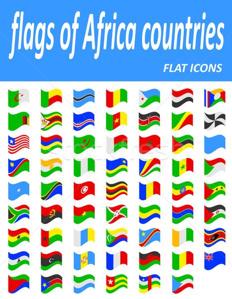 Bandeiras África países ícones isolado branco Foto stock © konturvid
