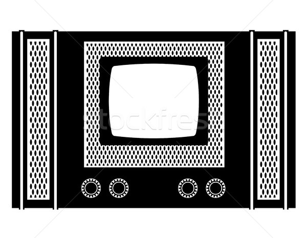 tv old retro vintage icon stock vector illustration black outlin Stock photo © konturvid