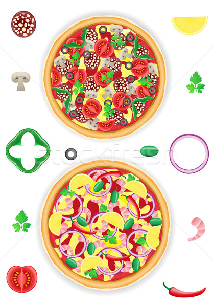 pizza and components vector illustration Stock photo © konturvid