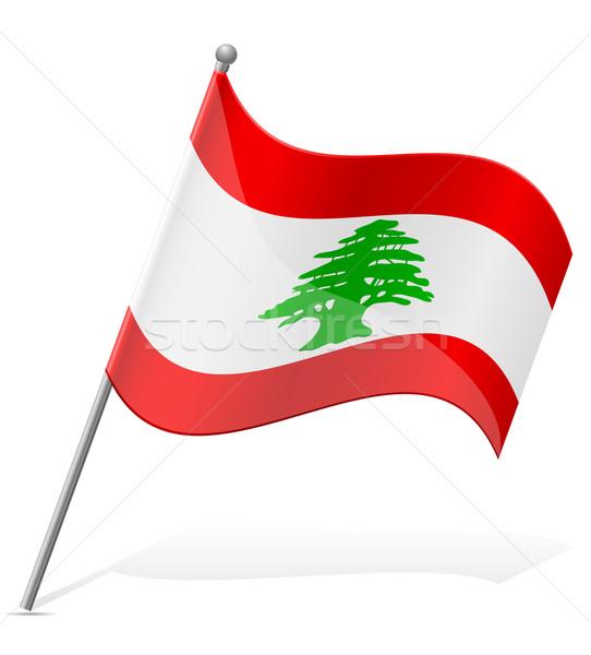 Bandeira Líbano isolado branco mundo terra Foto stock © konturvid