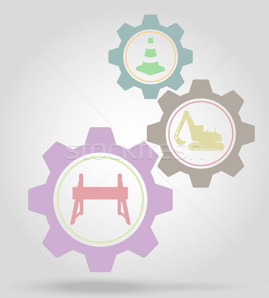 road works gear mechanism concept vector illustration Stock photo © konturvid