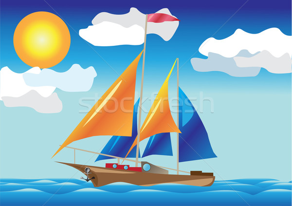 ship with sails at the sea side Stock photo © konturvid