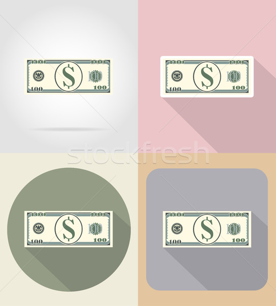 banknote one hundred dollars flat icons vector illustration Stock photo © konturvid