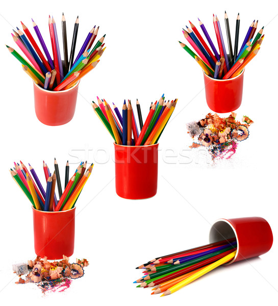 coloured pencils are in red glass Stock photo © konturvid