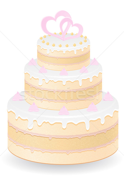 Esküvői torta izolált fehér étel születésnap torta Stock fotó © konturvid