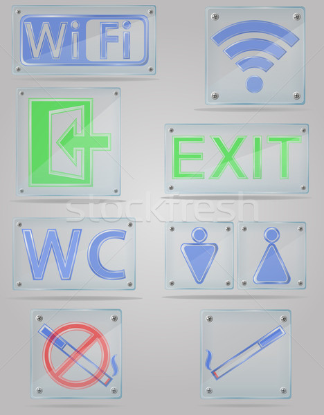 set icons transparent signs for public places on the plate vecto Stock photo © konturvid