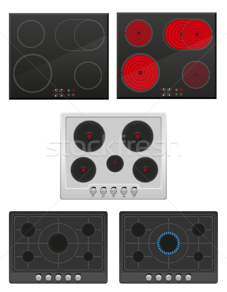 set surface for electric and gas stove vector illustration Stock photo © konturvid