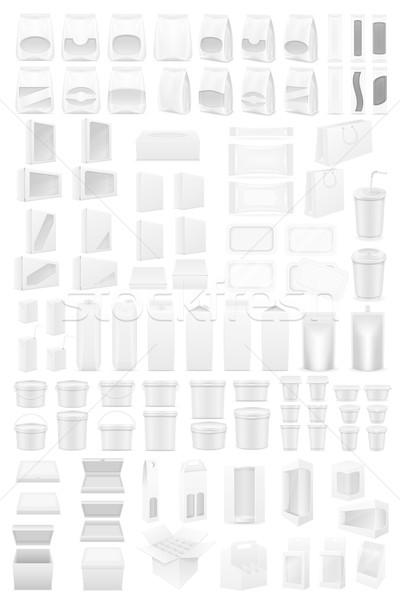 white packing big set icons vector illustration Stock photo © konturvid