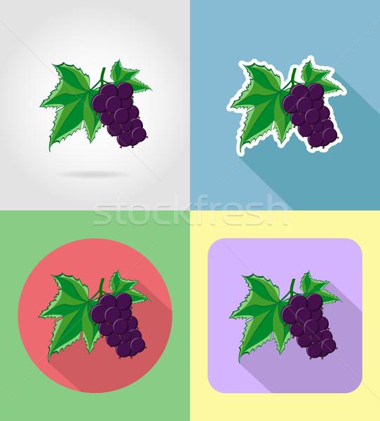 Ribiszke gyümölcsök szett ikonok árnyék vektor Stock fotó © konturvid