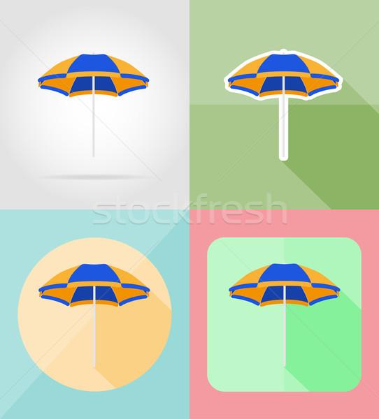 Plaj renk şemsiye simgeler yalıtılmış gökyüzü Stok fotoğraf © konturvid