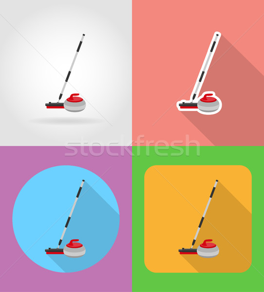 broom and stone for curling flat icons vector illustration Stock photo © konturvid