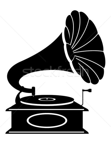 Gramofon eski Retro bağbozumu ikon stok Stok fotoğraf © konturvid