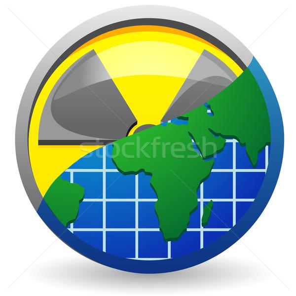 Assinar radiação mapa planeta isolado branco Foto stock © konturvid