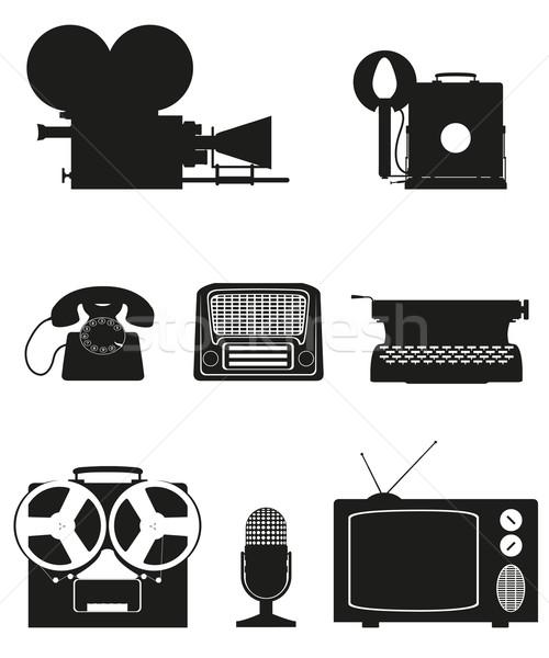 vintage and old art equipment silhouette video photo phone recor Stock photo © konturvid