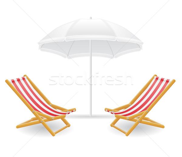 beach chair and parasol vector illustration Stock photo © konturvid