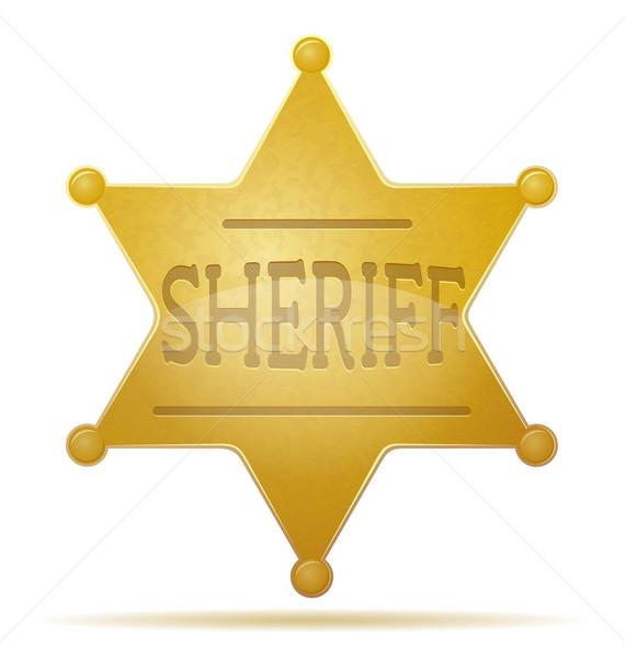 Csillag sheriff izolált fehér fém felirat Stock fotó © konturvid
