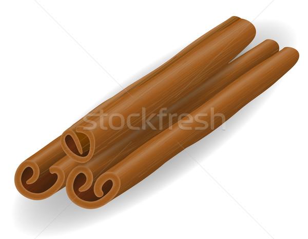 Canela em pau isolado branco comida café chocolate Foto stock © konturvid