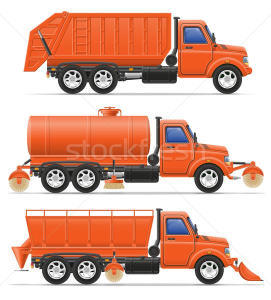 cargo trucks municipal cleaning services vector illustration Stock photo © konturvid