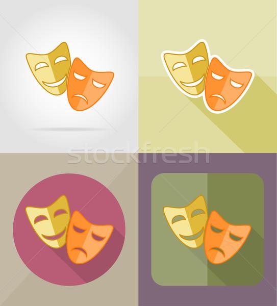 Stock fotó: Színház · maszkok · ikonok · izolált · film · mosolyog