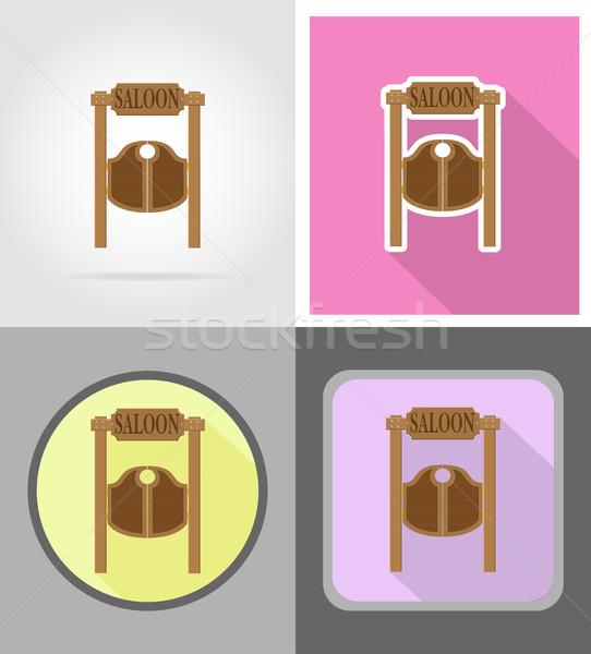 doors in western saloon wild west flat icons vector illustration Stock photo © konturvid