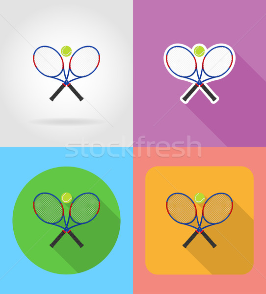 tennis racket and ball flat icons vector illustration Stock photo © konturvid
