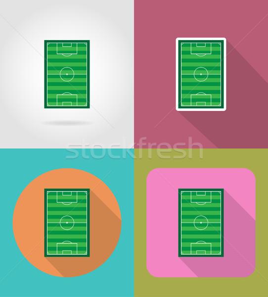 football soccer stadiun field flat icons vector illustration Stock photo © konturvid