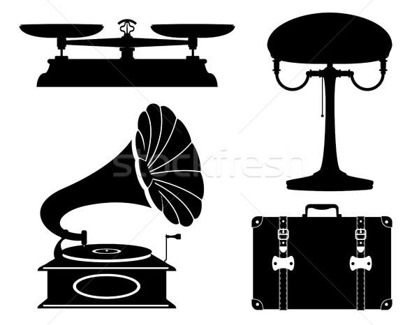 domestic appliances old retro vintage set icons stock vector ill Stock photo © konturvid