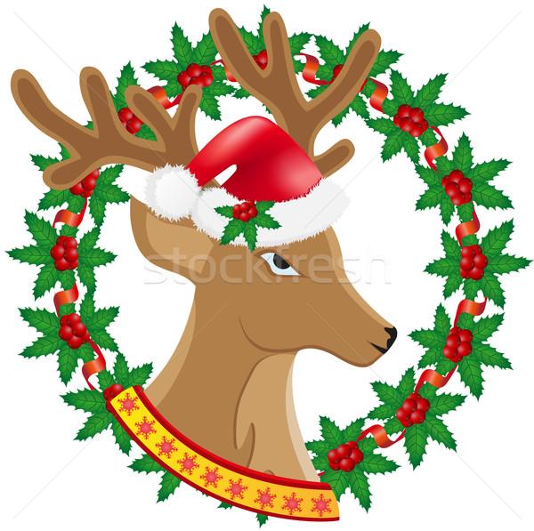 christmas deer wreath of holly berries vector illustration Stock photo © konturvid