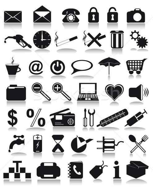 Negro iconos aislado blanco ordenador teléfono Foto stock © konturvid