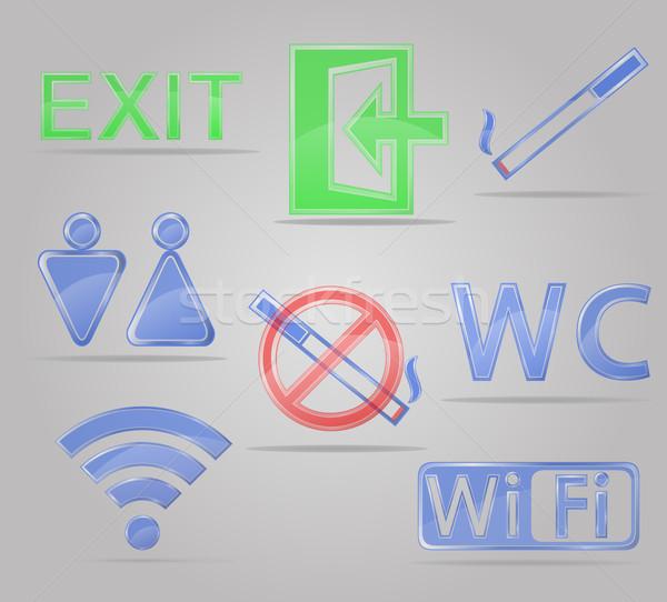 set icons transparent signs for public places vector illustratio Stock photo © konturvid