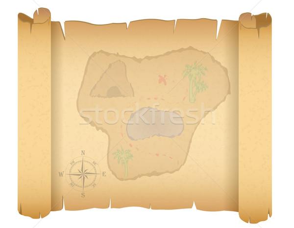 пиратских Карта сокровищ изолированный белый фон пространстве Сток-фото © konturvid
