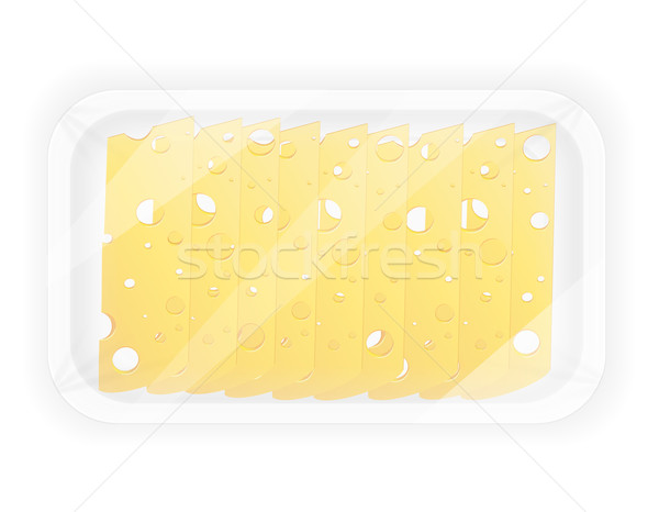 Photo stock: Fromages · paquet · isolé · blanche · alimentaire