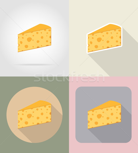 piece of cheese food and objects flat icons vector illustration Stock photo © konturvid
