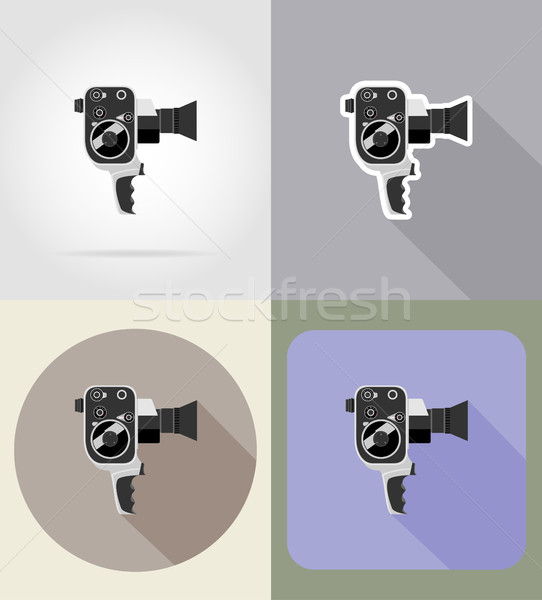 old retro vintage movie video camera flat icons vector illustrat Stock photo © konturvid