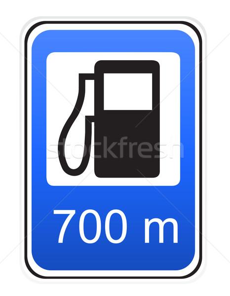 Jelzőtábla megtankol izolált fehér út internet Stock fotó © konturvid