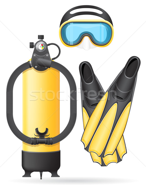 aqualung mask tube and flippers for diving vector illustration Stock photo © konturvid