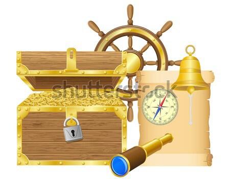 пиратских иконки изолированный белый закрывается морем Сток-фото © konturvid