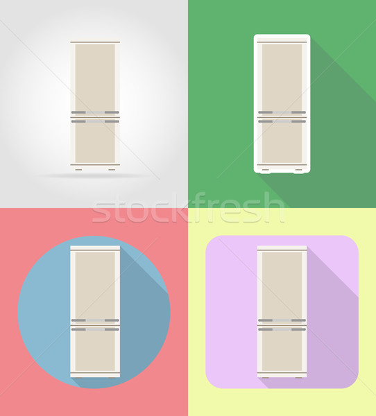 refrigerator household appliances for kitchen flat icons vector  Stock photo © konturvid